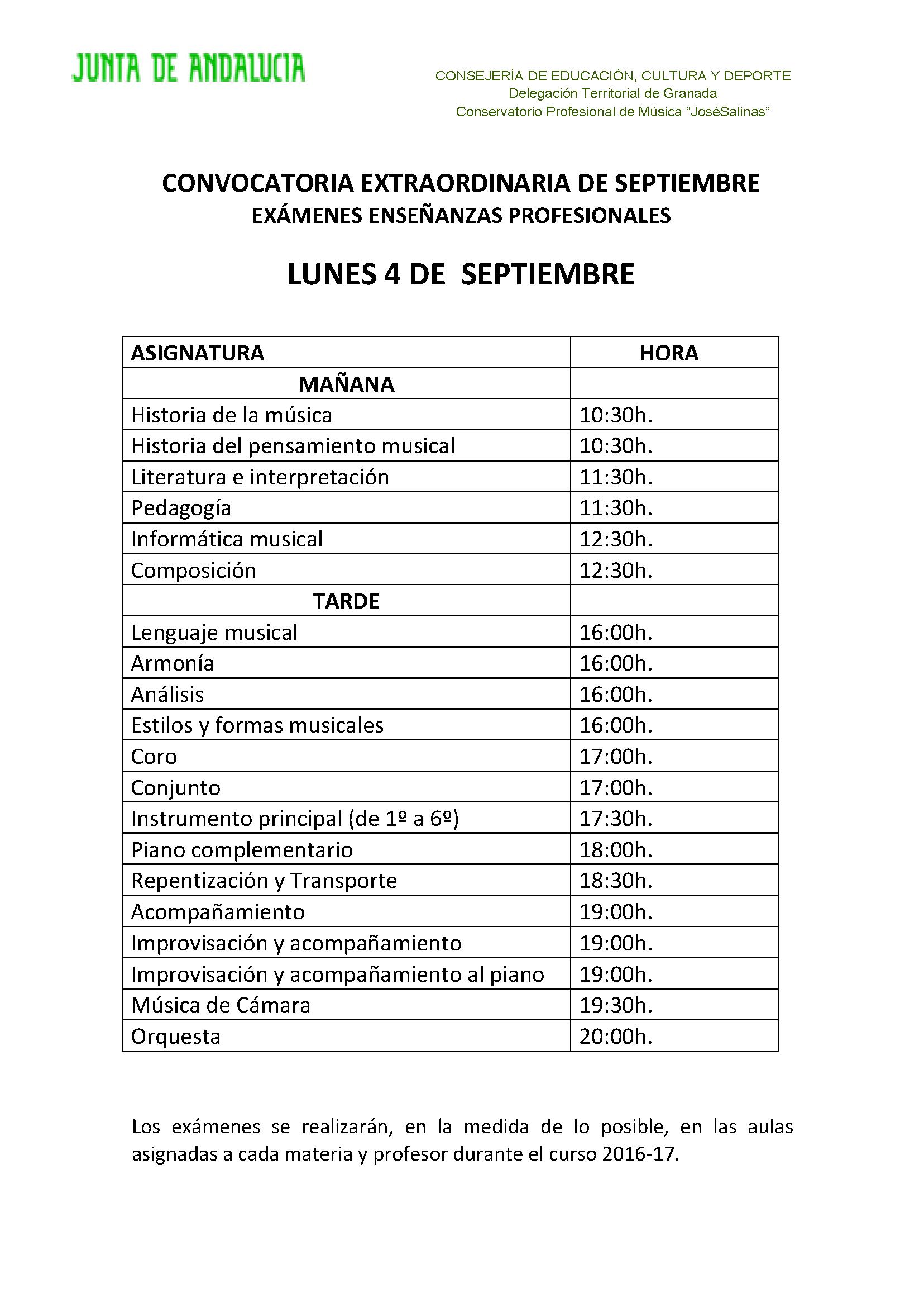 CONVOCATORIA EXTRAORDINARIA DE SEPTIEMBRE: Día y hora de los exámenes