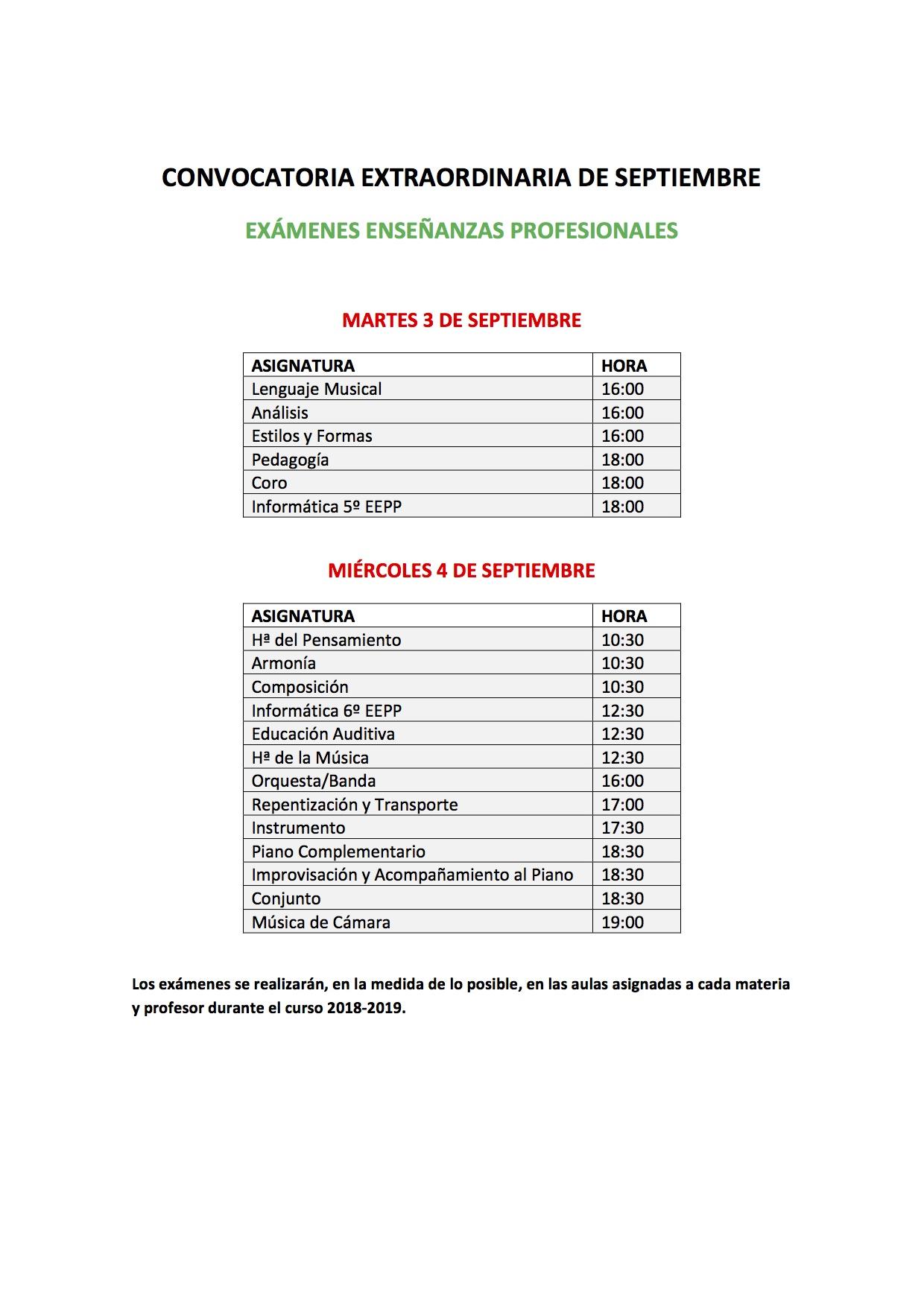 CONVOCATORIA EXTRAORDINARIA DE SEPTIEMBRE. CURSO 2018/19